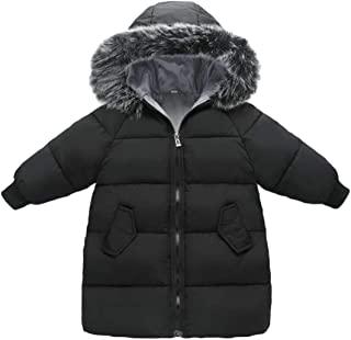 Cromoncent Boy Fleece Hoodid Faux Fur Lined Quilted Zip Casual Down Jacket Parka Coat