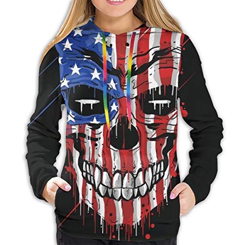 Sudadera con Capucha para Mujer Skull Head America Flag. USA Color con Grunge Capas EDITABLES Vector, L Sudadera