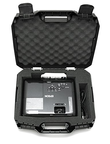 CASEMATIX Hard Shell Projector Travel Case Compatible with Epson VS250 SVGA, VS350 XGA, VS355 WXGA Projectors with HDMI Cable and Remote in Custom Foam Compartments, Case Only