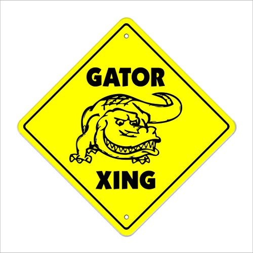 """Gator Crossing Sign Zone Xing   Indoor/Outdoor   12"""" Tall Plastic Sign new alligator gators lover football players"""