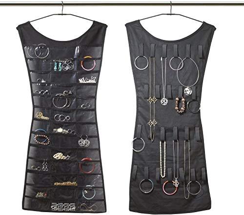 Organizador de pulseras, collares y bisutería, con forma de vestido, para el armario