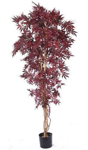 Artificial Acer Tree - natural red maple leaves and real wood trunk. Premium quality fake tree.