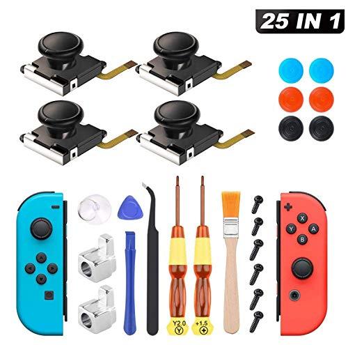 Joy Con Mando Nintendo Switch 25 PCS Sendowtek Reemplazo de 3D Joystick Analógico para Switch Pro Lite 4 ThumbStick