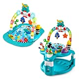 Baby Einstein 2-in-1 Lights & Sea Floor Activity Play Gym & Saucer Bounce Chair w/Colorful Light Show, Music, and Toy Bar for Babies