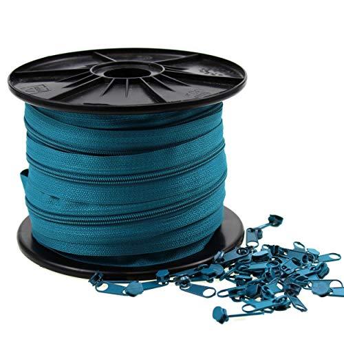 Zipp & Slide® 3 mm Endlosreißverschluss - Nickel Frei! - 25 Meter inkl. 75 Zipper, Petrol