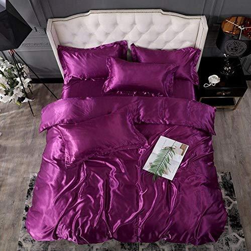 Bedding-LZ Juegos de sábanas 105 x 190,Lavar Seda de Cuatro Piezas Silk Silk Slide Slide Supply Regalos-1,5 m la Cama (4 Piezas)_Automóvil Club británico