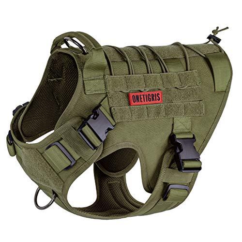 OneTigris Tactical Dog Harness Vest,No-Pull Service Dog Vest with Hook & Loop Panels,Adjustable Dog Vest Harness for Walking Hiking Training(Ranger Green,X-Large)
