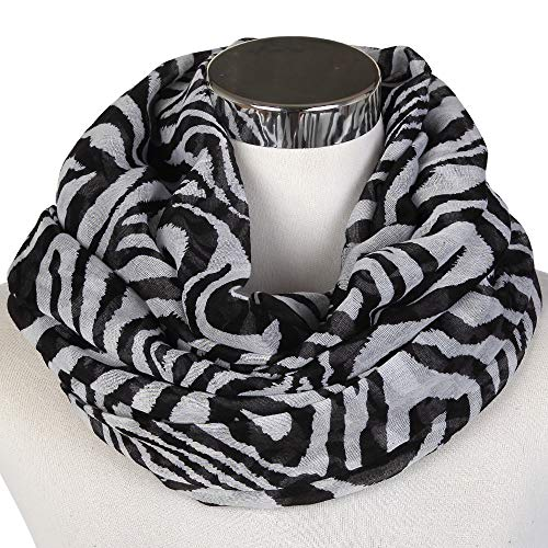 PGDD Lightweight Soft Black Navy Kaffee Zebra Schal Loop Ladies Black