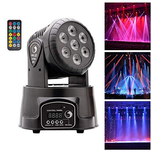 UKing Moving Head Stage light 7 LED RGBW effetto luce con telecomando DMX512 Sound Master-Slave per Party Disco DJ Club Show Bar Matrimonio Halloween Natale (1 pezzo)