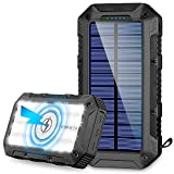 Solar Charger 26800mAh,GRDE Wireless Portable Solar Power Bank Panel Charger with 28 LEDs and 4 Outputs External Backup Battery...