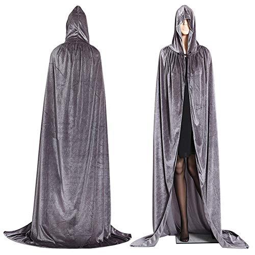 QLQGY Gotische Hooded Stain Mantel Wicca Robe Heks Larp Cape Vrouwen Mannen Halloween Kostuums Vampiers Fancy Party Size S-M