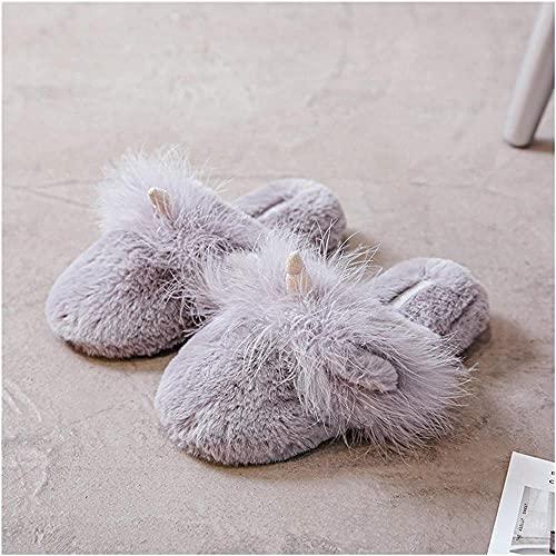 LONGJIQ Casa de Invierno Zapatillas de Piel de Unicornio Lindo para Mujeres resbalones en casa dormitorios Planos Damas Zapatos acogedores Zapatos Rosa Mujer borrosa-39_Gris Fantastic