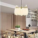 Faus Koco Nordic Postmodern Feather Chandelier Restaurante Sala de Estar Dormitorio Lado del Pasillo Alta Gama Minimalista Blanco Americano Lámpara de Dos Colores Araña