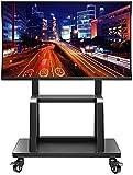 BNFD Universal-Tisch-TV-Ständer Kommerzieller TV-Mobilwagen für 55'-95'-Flachbildschirme, Schwarzer Heavy-Duty-TV-Ständer mit 2 Ablagen und Feststellrädern,Belastung 155kg