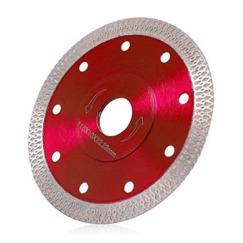 Disco Diamantato 115 mm Sottile Professionale Disco Diamantato Smerigliatrice Taglio per Gres Porcellanato Piastrelle Ceramica Marmo a Secco e Umido (rosso, 115mm)