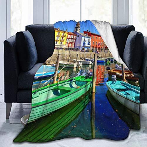 Perfect household goods Fleecedecke 127 x 152,4 cm - Schweiz Ascona Staubblätter Berge Heim Flanell Fleece Weich Warm Plüsch Überwurf Decke für Bett Couch Sofa Büro Camping