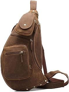 Vintage Crazy Horse Leather Chest Bag Handmade Large Capacity Men's Crossbody Bag Leather Shoulder Bag