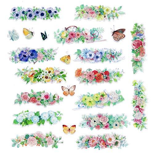 Pegatinas de acuarela con marco de flores y mariposas, para manualidades, adornos de álbumes de recortes, regalo adhesivo para diario, diario, cuaderno, cartas, calendario, tarjetas, sobre.