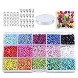 7500Pcs Cuentas de Colores 3 Mm Mini Cuentas de Cristal para niños DIY Pulsera Art (Multicolor)