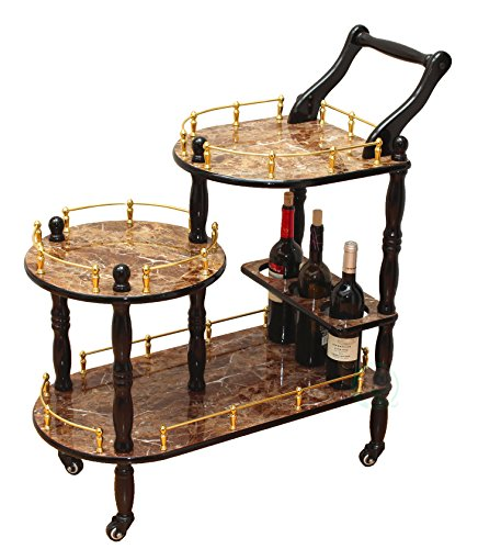 Uniquewise(TM) 3-Tier Serving Tea Cart, Gold Marble Finish