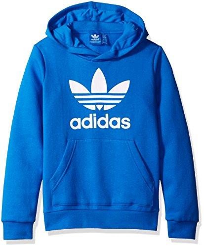 adidas Originals Outerwear Big Boys' Trefoil Crew Sweatshirt, Blue Bird/White, X-Small