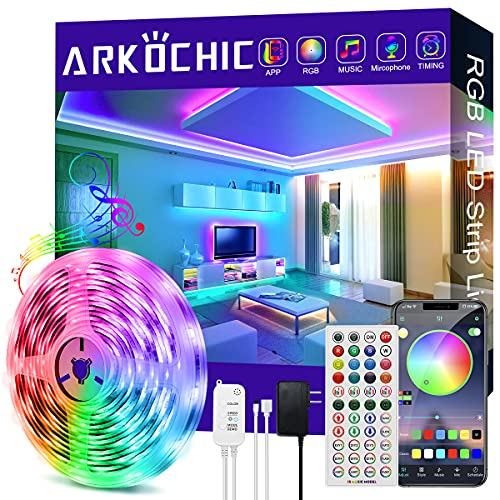 20FT/6M LED Strip Lights, ARKOCHIC RGB Led Lights Strip Music Sync Smart Led Lights, 5050 SMD Color Changing LED Strips with Bluetooth Controller Apply for TV, Bedroom, Party and Home Decoration