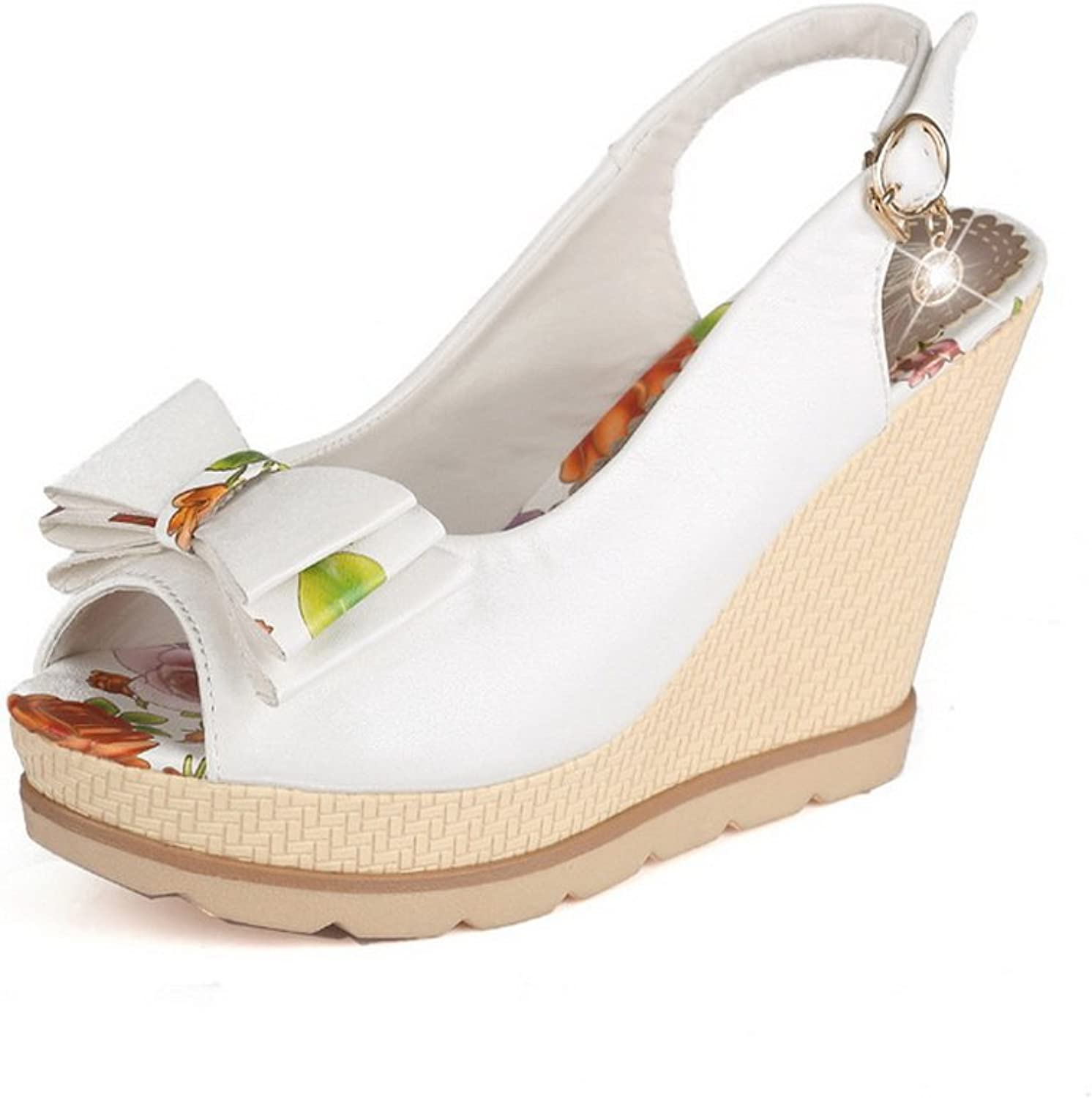1TO9 Ladies Spun gold Bowknot Wedges White Soft Material Sandals - 8.5 B(M) US