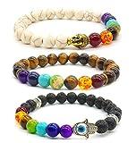Bracelet Bracelet Bouddha 3x Bracelet 7 Chakras Bracelet en pierre à lame gemme