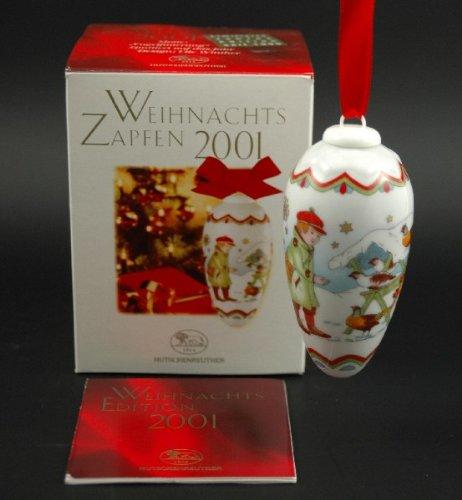 Hutschenreuther Weihnachtszapfen 2001, Zapfen, Porzellanzapfen, Weihnachten, Baumschmuck, Baumanhänger, Anhänger