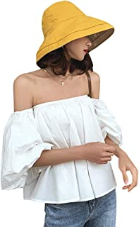 LALIFIT Women Wide Brim Bucket Hat Reversible UV Protection Sun Hats Summer Beach Cap Packable with Chin Cord
