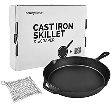 Henley Kitchen - Pre-Seasoned Cast Iron Skillet - 12 Inch - Classic Cast Iron Frying Pan with Stainless Steel Cast Iron Cleaner