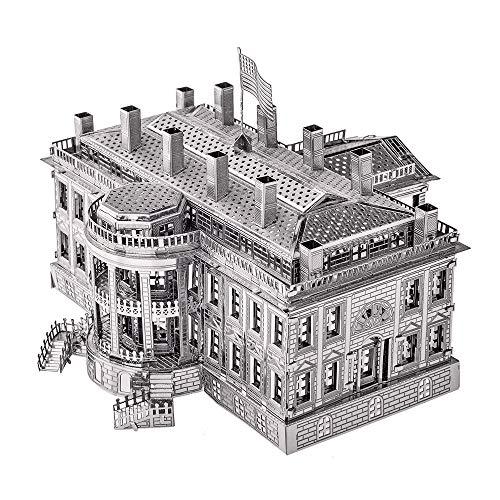 piececool The White House   Puzzle de metal 3D para adultos, 122 piezas, color plateado