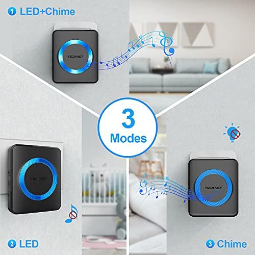 TECKNET Wireless Doorbell, Waterproof Twin Wall Plug-in Cordless Door Chime Kit with 300m Range, 38 Chimes, 4-Level Volume & Blue Light, Best for Plug in Door Entry Bell