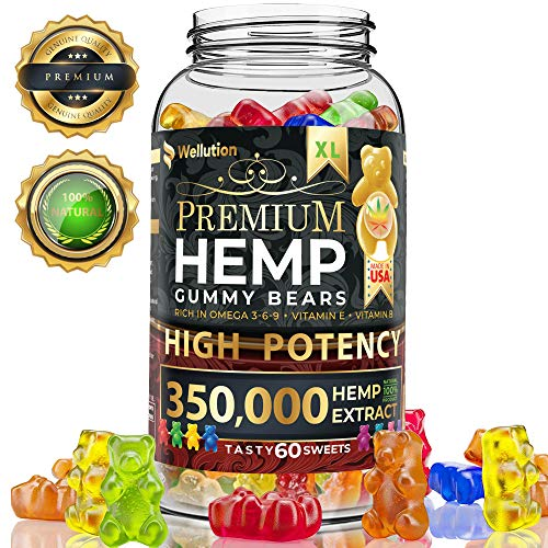 Hemp Gummies Premium 350000 High Potency - Fruity Gummy Bear with Hemp Oil - Natural Hemp Candy Supplements for Pain, Anxiety, Stress & Inflammation Relief - Promotes Sleep and Calm Mood