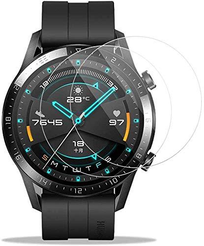 FiiMoo Protector de Pantalla Compatible con Huawei Watch GT 2 46mm 【2 Pack】[9H Dureza] [Ultra Claro] [ Alta Sensibilidad], Cristal Vidrio Templado para Huawei Watch GT 2