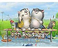 ジグソーパズル子供のための大人のための300個、ジグソーパズル 猫と魚 ジグソーパズル完全に合う部分