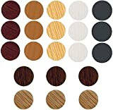 VIWIEU PVC Cover Caps Adhesive Screw Hole Sticker 378 PCS for Wall Vinyl Furniture Repairing, 7 Colors Waterproof Wood Textured Plastic Cover for Cabinets Bookcase Desk Countersunk Screws Cam Lock