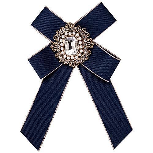 EXCLVEA Damen Vorgebundene Krawatte Premium Frauen Retro Schleife Brosche Pin Fliege Schmuck für Hochzeit Party Fliege Mann kreativ blau