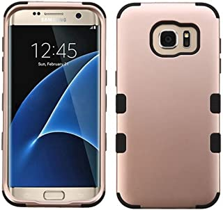 Galaxy S7 Edge Case, Rock Me Wireless (TM) 2 items Bundle - 24K Gold Plating Sticker and Triple Layers Hybrid Protector Case Cover for Samsung Galaxy S7 Edge. (Rose Gold / Black)