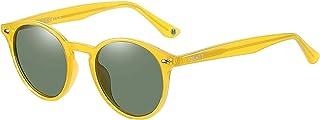 H HELMUT JUST - Gafas De Sol para Mujer Hombre Redondas Vintage Polarizadas Unisex TR90 y Acetato
