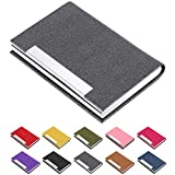 Business Card Holder, Business Card Case Luxury PU Leather & Stainless Steel Multi Card Case,Business Card Holder Wallet Credit Card ID Case/Holder for Men & Women. (Gray)…