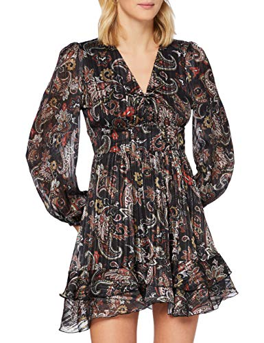 REPLAY W9624 .000.72154 Vestido, 010 Black/Sand/Natural White/Red, XL para Mujer
