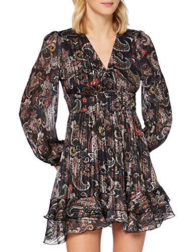REPLAY W9624 .000.72154 Vestido, 010 Black/Sand/Natural White/Red, M para Mujer