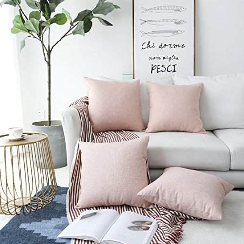 HOME BRILLIANT Decoration Supersoft Linen Cushion Covers Square Throw Pillows Cover for Couch, Baby Pink, 45x45 cm, Set of 4