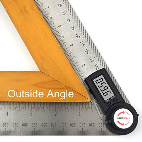 GemRed 82305 Digital Angle Finder Protractor (Stainless steel, 7inch/200mm)