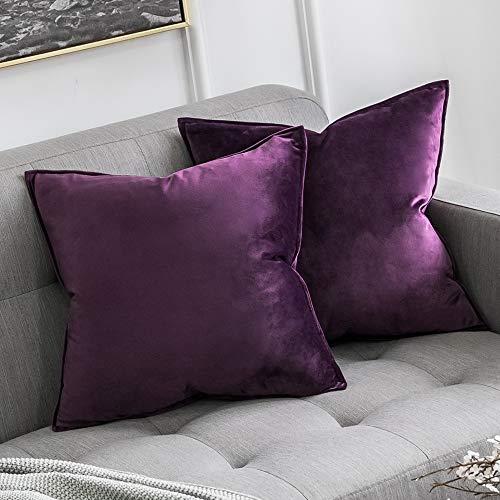 MIULEE 2er Set Samt Kissenbezug Kissenhülle Dekorative Dekokissen mit Verstecktem Reißverschluss Sofa Schlafzimmer 18x 18 Inch 45 x 45 cm 2er Set Aubergine Lila