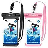MoKo Waterproof Phone Pouch [2 Pack], Underwater Phone Case Dry Bag with Lanyard