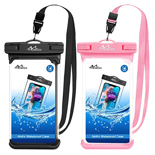 MoKo Waterproof Phone Pouch [2 Pack], Underwater Phone Case Dry Bag with Lanyard Compatible with iPhone 11/11 Pro/11 Pro Max, X/Xs/Xr/Xs Max, 8/7 Plus, Galaxy S10/S9/S8 Plus, S10e, S20, Note 10/9/8