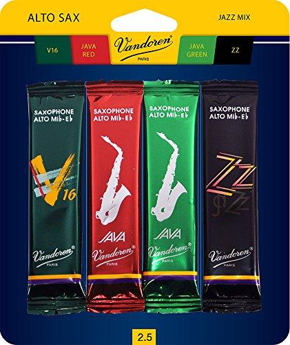 Vandoren SRMIXA2 Blättchen für Altsaxophon, Jazz, je 1 Stück ZZ, V16, JAVA und JAVA Red Stärke 2 Strength 2.5