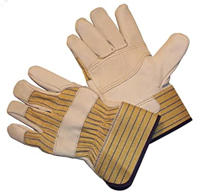 G & F 2302 Premium Leather Palm Gloves, Heavy Duty Fabric